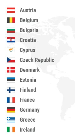 Austria, Belgium, Bulgaria, Croatia, Cyprus, Czech Republic, Denmark, Estonia, Finland, France, Germany